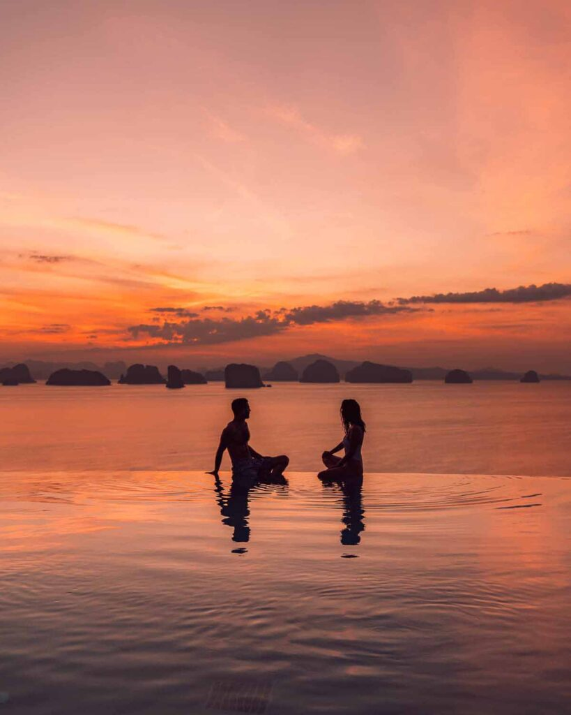 Sunset infinity pool six senses yao noi thailand hotel