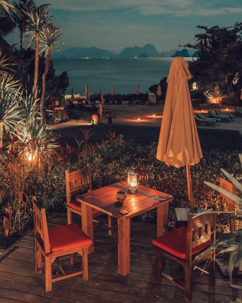 romantic dinner Six Senses Yao Noi Thailand hotel